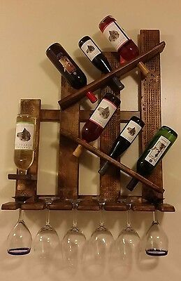 Wine Rack Wall Mounted Holder Storage wooden Shelf Holds 7 Bottles & 6 Glasses