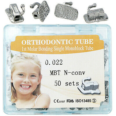 50 Kits Dental Orthodontic Monoblock Buccal Tubes MBT 0.022 1st Molar Bonding
