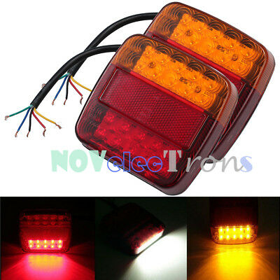 2X 12V LED Rear Stop Indicator Lights Square Tail Lamp Trailer Truck Van Tipper