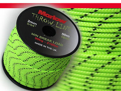 MARLOW ROPE THROWLINE 2.0mm LIME - 50M ROLL - ARBORIST - LIMITED STOCK