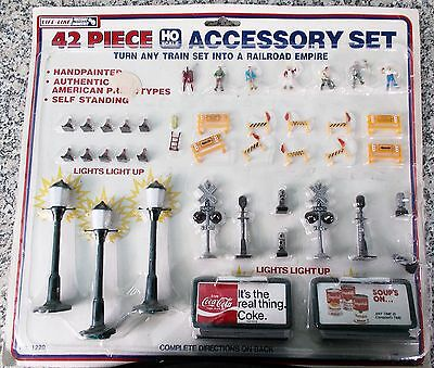 NOS 42pcs HO Scale Life Like Accessory Set People Lights Construction & Signs
