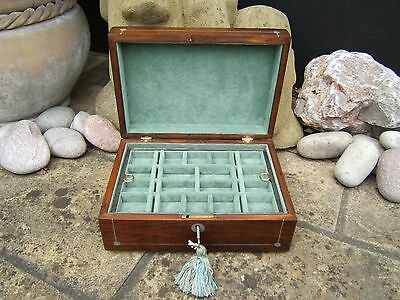 Lovely 19C Rosewood Inlaid Walnut Antique Jewellery Box - Fab Interior