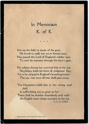 Lord Kitchener 1916 Memorial Broadside - Drowned on the HMS Hampshire - WWI