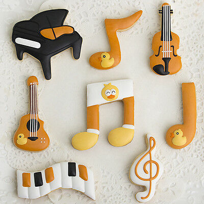 5pcs Stainless Steel Music Note Biscuit  Cookie Cutter Fondant Cake Decor Mold