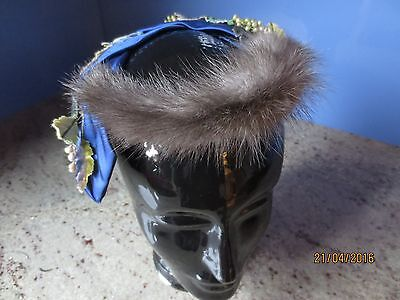 "Vintage 50s ""Sonni"" mink and blue satin floral flat ring cocktail hat"