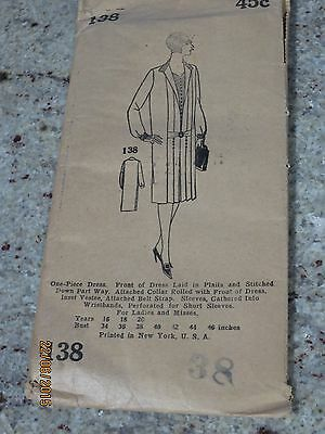 RARE Original 1920s 20s Vintage sewing pattern pleated flapper dress Bust 38