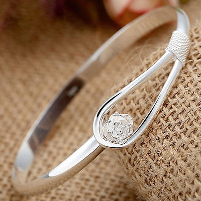 Fashion Women Silver Plated Crystal Rose Flower Cuff Bangle Bracelet Jewelry