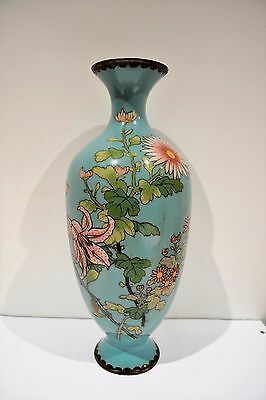 "Antique Large 12"" Oriental Japanese Cloisonne Enamel Vase"