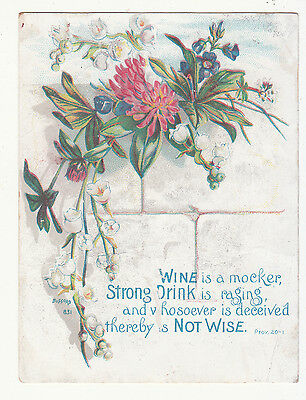 Wine is a mocker Strong Drink is Raging and Whosoever  Victorian Card c 1880s