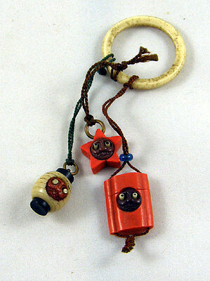 Delightful 3 Old Japanese Kobe Cracker Jack Charms Pop Out Eyes - on ring