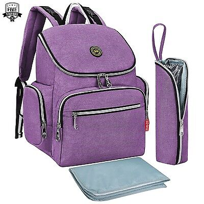 * NEW * Multi-function Baby Diaper Bag Backpack with Changing Pad Purple
