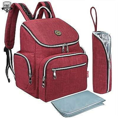 * NEW * Multi-function Baby Diaper Bag Backpack with Changing Pad Red