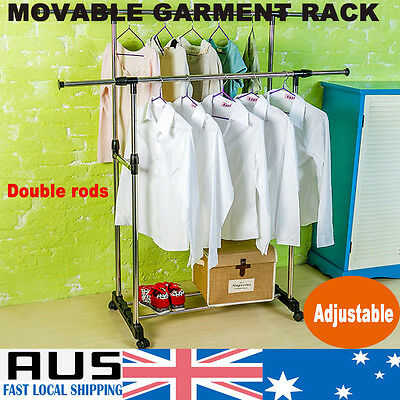 Heavy Duty Rack Clothes Garment Portable Double Rail Rolling Stand Adjustable
