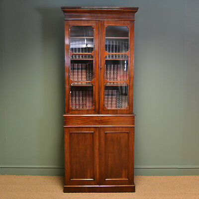 Tall Slim Victorian Mahogany Antique Bookcase On Cupboard