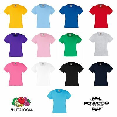 FOTL Fruit of the Loom Girls T-Shirt Children's Top Tee Shirt Clothing Plain T