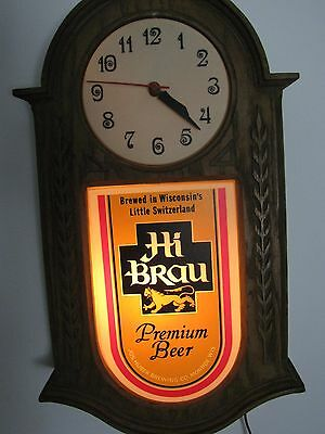 Collectible Lighted Hi Brau Beer Sign Clock Light Huber Brew Monroe Wisconsin