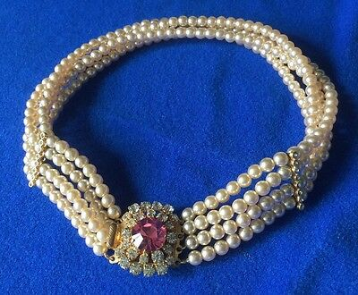 Vintage 4 Strand Faux Pearl Pink & Clear Rhinestone Clasp Necklace - wed bride