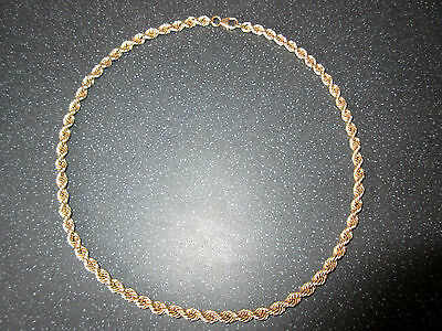 """9ct Gold Rope Link Chain Necklace 20"""" Very Heavy (46.2 grams)"""