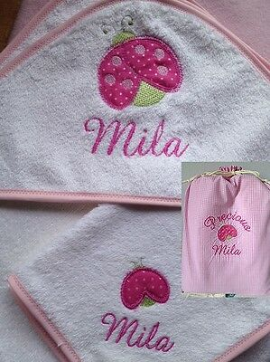 NEW PERSONALISED BABY HOODED TOWEL SET: LADYBUG, FREE Express Post to AUS