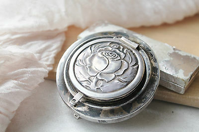 Art Deco Antique Sterling Floral Repousse Hinged Double Mirror Compact