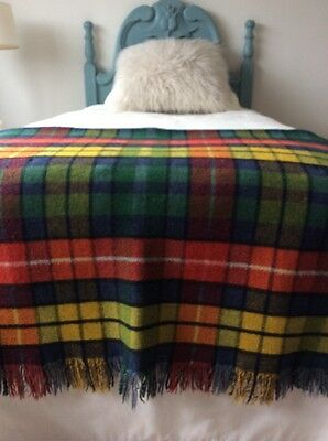 Vintage double sided pure wool Blanket / Red, Green Yellow And Blue Check.