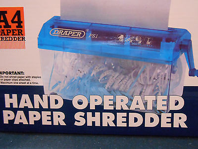 Draper A4 Hand Operated Portable Compact Paper Shredder