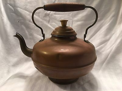 Vintage copper kettle with brass handle & spout, wooden knob & handle