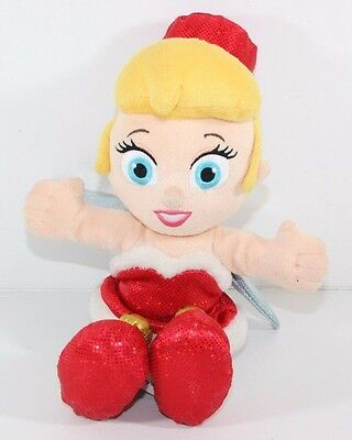 "Disney Parks 12"" Baby Tinkerbell Plush Doll CHRISTMAS Red Santa Dress"