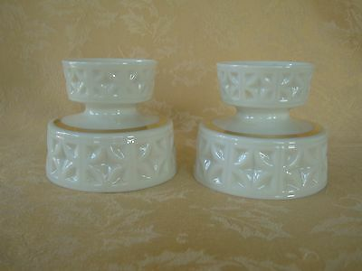 Set of Two Lenox Classic Ivory Candlestick Candle Holders Gold Trim