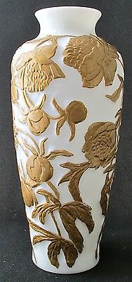 """Consolidated art glass gold decorated milk glass PEONIES vase, 12 3/8"""" h"""