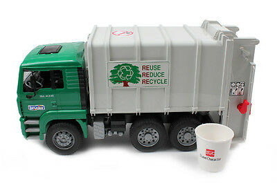 Bruder MAN Rear Loading Garbage Truck Green Kid Toy Vehicle Diecast NEW BR02764