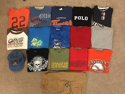 Lot of 17 items: Boys Summer Clothes Size 4T - 5T Shirts, Shorts, Hat