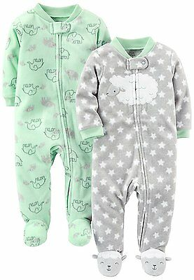 Simple Joys by Carters Baby 2-Pack Fleece Footed Sleep and Play, Lamb/Elephant,