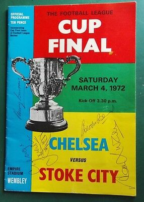 1972 STOKE CITY vs. CHELSEA - LEAGUE CUP FINAL SIGNED PROGRAMME  BY 5  LEGENDS