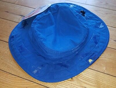 acb30dd6bae NWT Kids Blue Shark SUN PROTECTION Zone Adjustable Booney Hat Fits Ages 3-10