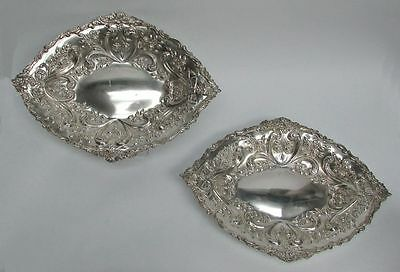 """Outstanding Pair 1890 London Sterling Silver Repousse' 12"""" Serving Dishes"""