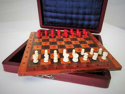 "VINTAGE  TRAVEL CHESS SET EARLY 20th C.""JAQUES LONDON"" PEGGED"