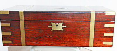 EXQUISITE LARGE ANTIQUE 19thC RARE ROSEWOOD CAMPAIGN WRITING SLOPE BOX