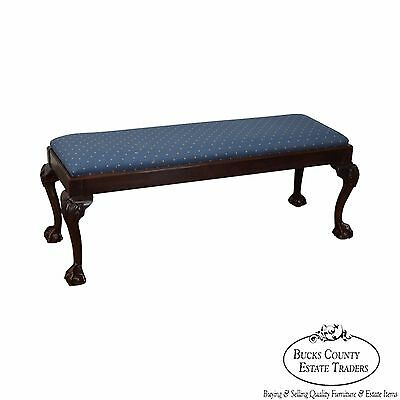 Quality Ball & Claw Foot Mahogany Chippendale Style Bench