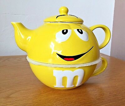 Pre-owned Yellow M&M' World Collectable Tea for One Pot & Mug Set Rare & Special