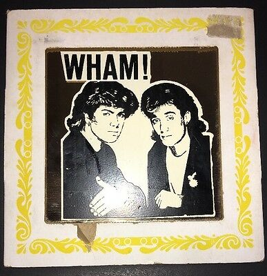 Vintage Retro 1980s WHAM George Michael 6x6 Glass Carnival Prize Mirror