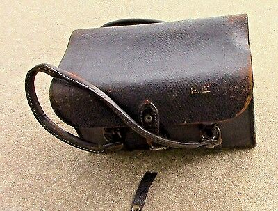 ANTIQUE World War 1 NURSES BAG medicine black leather Stanley 1918
