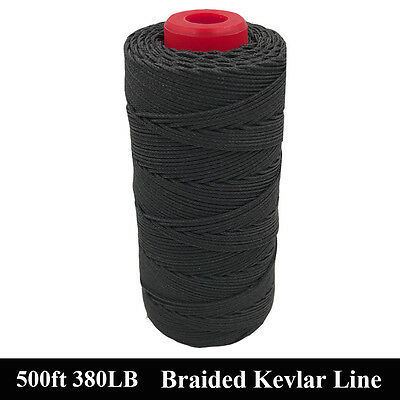 Black 500ft 380lbs Kevlar Line Braided Caving Cord Hiking Camping Tactical Rope