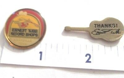 Rare:ernest Tubb Record Shops Nashville Tn. & Silvertoned Guitar Hat Pins