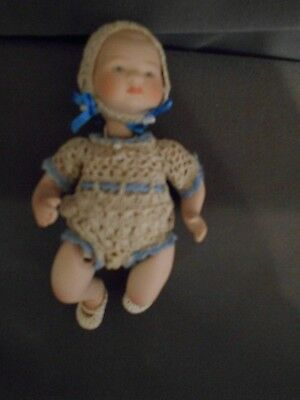 Miniature Doll, Jeannie DiMauro w/ crocheted Ensemble