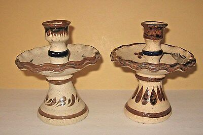 Pr Vtg Mexican Pottery Folk Art Candle Holders Blue Flowers Hand Painted Signed