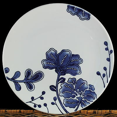 HOME TARGET BLUE and WHITE HIBISCUS FLOWERS FLORAL (4) SALAD PLATES PLATE SET