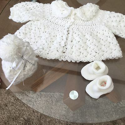 Beautiful Hand Crochet Baby Matinee Jacket+hat+boots