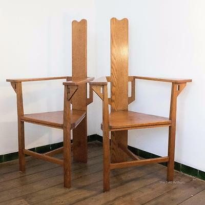 E G PUNNETT for William Birch Arts and Crafts Oak Armchairs c. 1900 120cm high