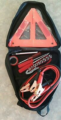 9 Pc Emergency Car Kit Inc Jumper Cables Zip Around Triangle Black Kit New